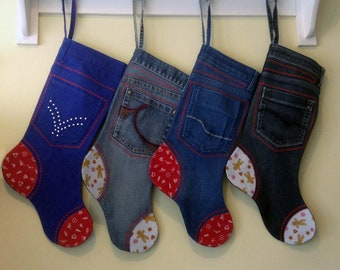 Personalised Xmas Holiday Stocking, Christmas, Gift, Recycled Funky Denim, Stocking Filler, Child Gift, Gift for Him, Her. Handmade, Unique