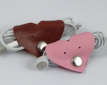 Leather Heart, Earphone, Useful Data Cable Organiser, USB Wrap, Cable, Headphone Holder, Cable Tidy, Small Cute Gift, Colors Avail.
