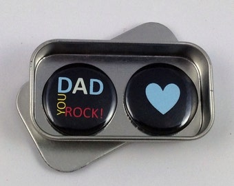 Dad You Rock Magnet Gift Set with Gift Tin Fathers Day Gift Birthday Gift Handmade Keepsake Moment Greeting Card Alternative