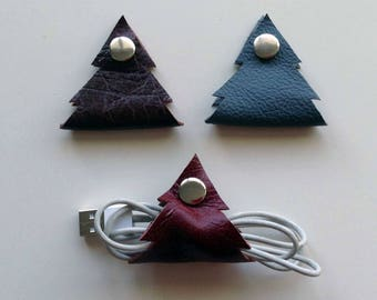Christmas Tree Headphone, Earphone, Set of 3, Useful Data Cable Organiser, USB Wrap, Headphone Holder, Cable Tidy, Ideal Gift, Handmade