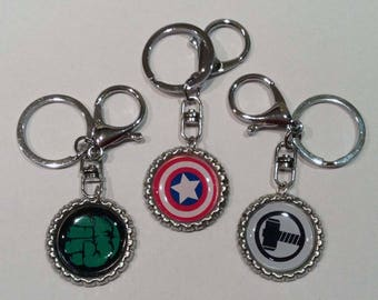 Marvel Comic Hero Bottle Top Key Rings, Key Chain, complete with gift tin. Choice of 6. Perfect Gift or Accessory, Stocking Filler, Handmade