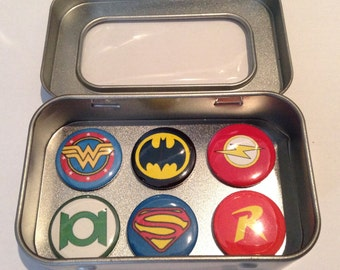 DC Comic Heroes Fridge Magnets / Justice League / Superman / Batman, 2, 3 and 6 Magnet Sets, Gift for Him Man Cave Stocking Filler