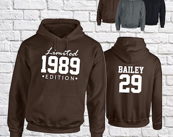 Personalised Hoodie Limited Edition, Adult Hooded Sweatshirt, Custom Name and Date, Gift for Him, Birthday Gift, Christmas Gift