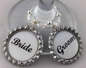 Bride & Groom Wedding Bottle Cap Wine Glass Charm Gift Set with gift tin, Wedding Gifts, Handmade