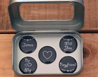 Personalised 'Wll You Be My Boyfriend' Fridge Magnets in Gift Tin, Valentines, Birthday Anytime Gift for Him