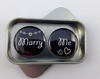 Wedding, Valentines 'Marry Me' Proposal Magnet Gift Set, Handmade, complete with gift tin