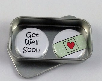 Get Well Soon Magnet Gift Set with Gift Tin Sympathy Alternative Greeting Card Handmade Keepsake Momento