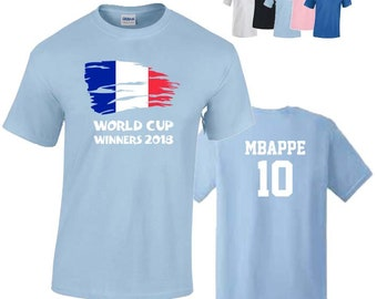 France World Cup Winners 2018 Football Unisex T-Shirt,  French Flag Design, Original Tee, Personalised, Available. 5 Color Options