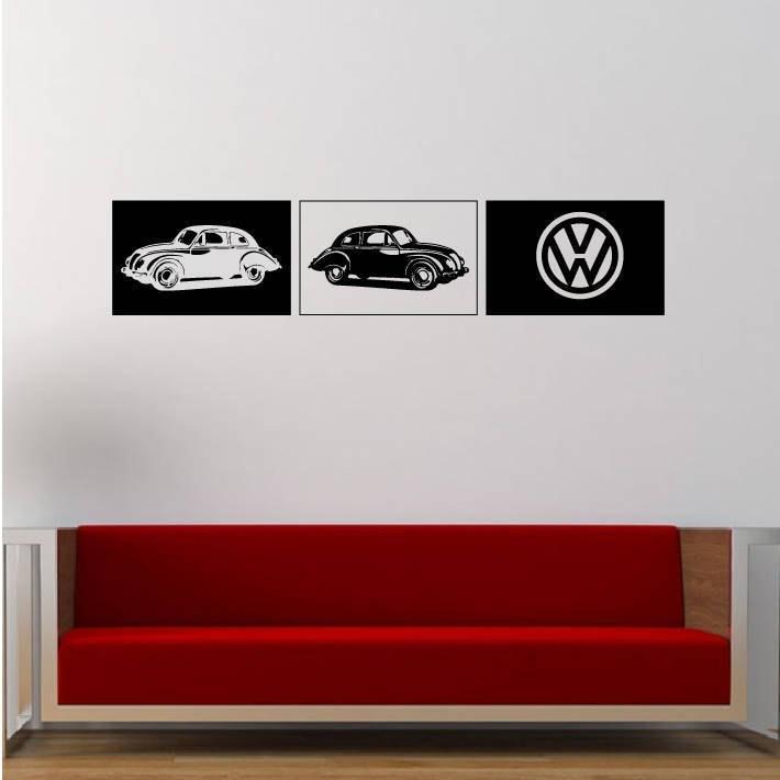 large vw cars vinyl wall decal wall stickers, matt vinyl