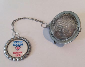 Loose Tea Infuser with Bottle Top Charm British Inspired Keep Calm Drink Tea, complete with gift tin Fun gift Tea Strainer Handmade