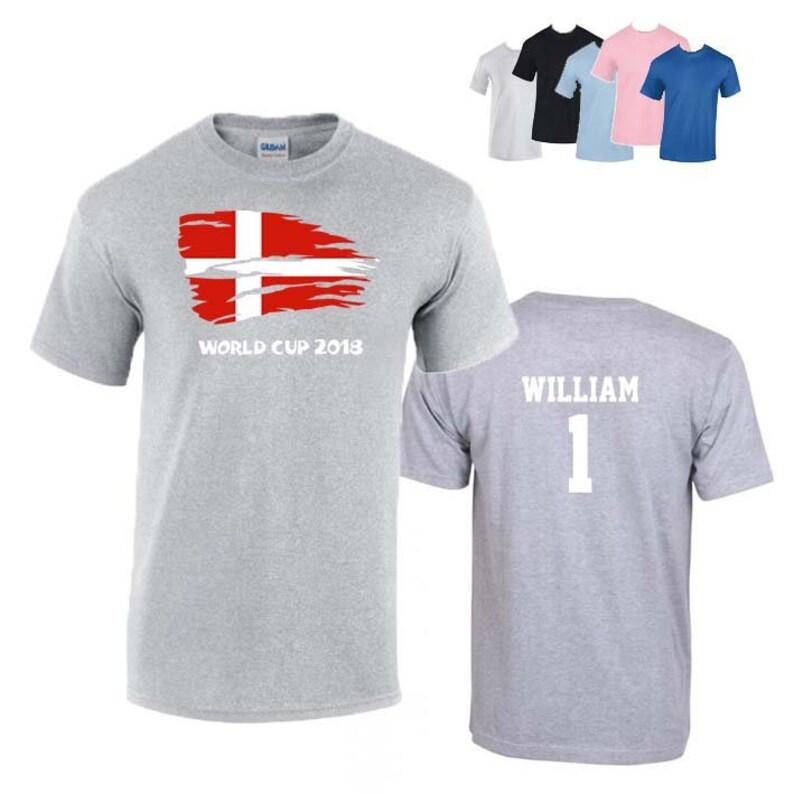 2e080e8db55 Denmark World Cup 2018 Football Unisex T-Shirt Danish Flag | Etsy