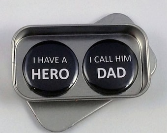 Dad Fathers Day Hero Magnet Gift Set with Gift Tin Fathers Day Gift, Birthday Gift Handmade Keepsake Greeting Card Alternative
