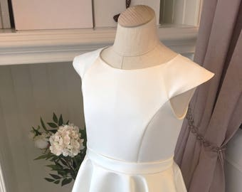 Custom Made to Measure Duchess Satin Holy Communion & Flowergirl Dress with Circular Skirt, Cap Sleeves and Sash Age 12 Months to 14 Years
