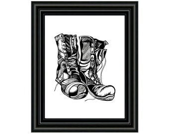Printable Art Download - Boots Art Print - PDF Printable Art - Instant Download - Old Boots - Drawing - Shoes Wall Art - Black and White
