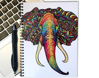 Elephant Notebook - Animal Notebook - 80 Page Spiral Notebook - Spiral Journal - Tribal Art - Drawing - Markers