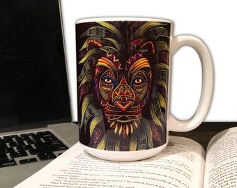 Lion Coffee Mug - Animal Coffee Mug - 15oz. Mug - Caesar - Tribal Art - Drawing - Colored Pencils