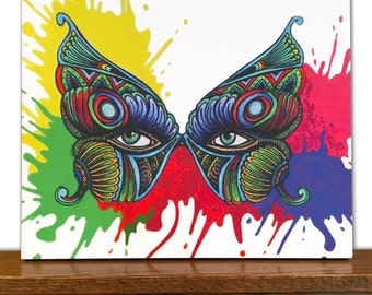 Butterfly Canvas Art - Decorative Wall Art - Home Decor - Masquerade Mask - Tribal Art - Drawing - Colored Pencils - Watercolor