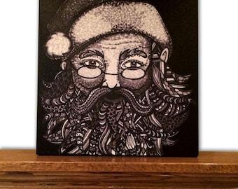 Christmas Canvas Art - Christmas Decor - Home Decor - Santa Claus - Tribal Art - Drawing - Markers - Black and White