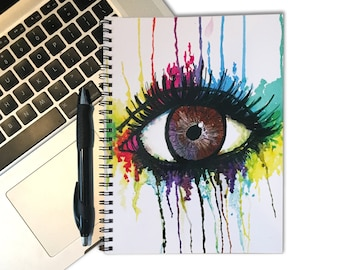 Watercolor Eye Notebook - Decorative Notebook - 80 Page Spiral Notebook - Spiral Journal - Drawing - Watercolor Painting