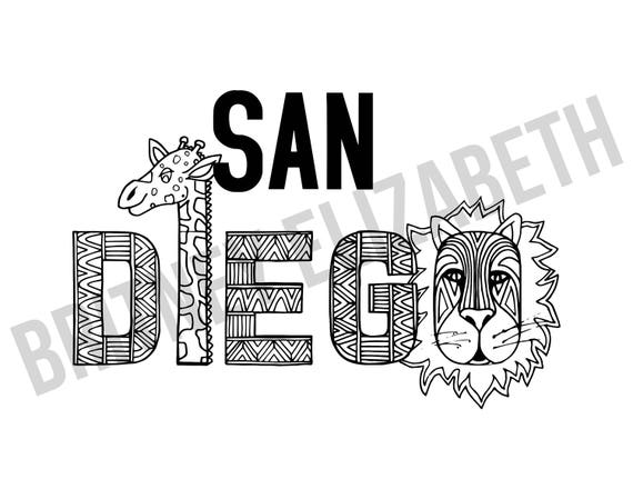 Coloring Page Download Printable Art Download San Diego Etsy