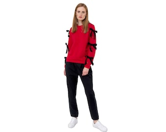61b97b18b Red and Black Two Piece Suit Women, Sweatshirt Sweatpants Matching Set,  Leisure Two Piece Outfit, Joggers Pants Suit Casual Hip Hop Clothing