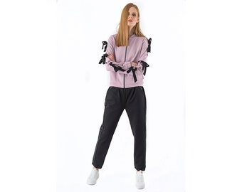 918e45c21 Dusty Pink and Black Leisure Suit Women, Two Piece Set Bomber Jacket  Sweatshirt Sweatpants Matching Set, Joggers Pants Suit, Casual Clothing