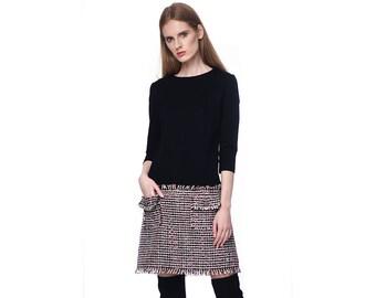 3745785b49 Black Mini Tweed Skirt Dress