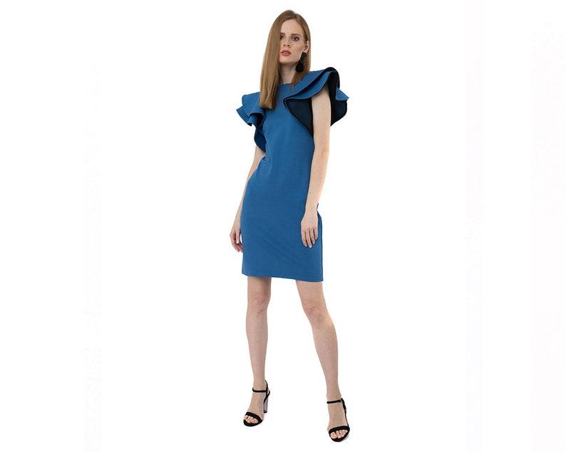 d79e23d1e74 Blue Bodycon Midi Evening Dress with Ruffle Sleeve
