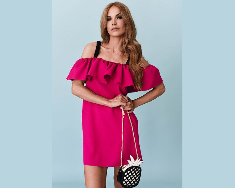 b13e9a759653 Fuchsia Pink Off the Shoulder Dress for Women Summer Ruffle