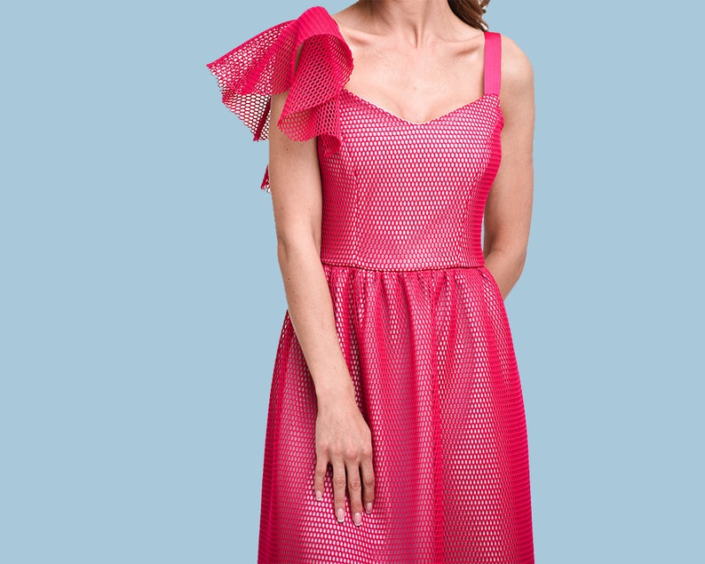 8e497f0ea97 Fuchsia Pink See Through Neoprene Cocktail Dress Party Dress