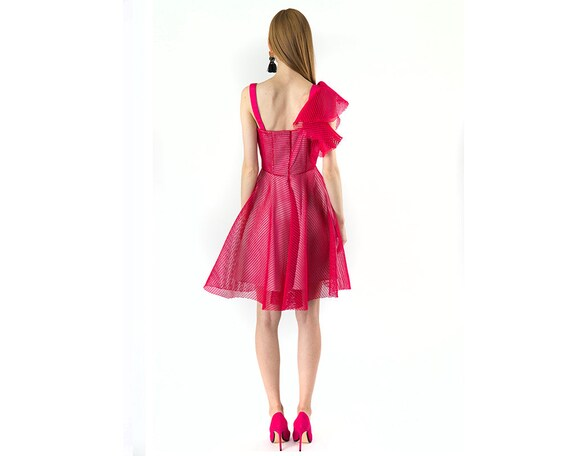 e2570dd2997 Hot Pink See Through Mini Cocktail Dress Extravagant Fishnet