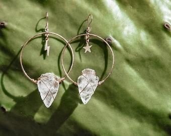 Quartz Arrowhead Earrings, Gold Hoop Earrings, Arrowhead Earrings, Modern Bohemian, Statement Earrings, Hammered hoops, Celestial Jewelry