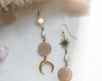 Crystal Earrings, Opal Moon Earrings, Celestial Jewelry, Bridal Jewelry, Dreamcatcher Earrings, Boho Jewelry, Crescent Moon Earrings