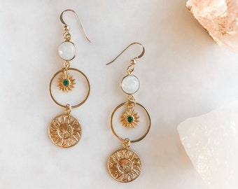 Emerald Cubic Zirconia, Moonstone Earrings, Crystal Earrings, Sun Earrings, Sunburst Earrings, Modern Bohemian, Bridal, Gifts for Her