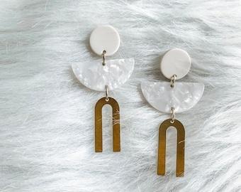 Geometric Earrings, Acrylic Earrings, Minimalist Jewelry, Modern Jewelry, Abstract Earrings, Statement Earrings, Gifts for Her, Wedding