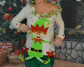 Small, Ugly Christmas sweater, Women, Dancing elf, Party Sweater, ugly xmas sweater, one of a kind, tacky, off the shoulder