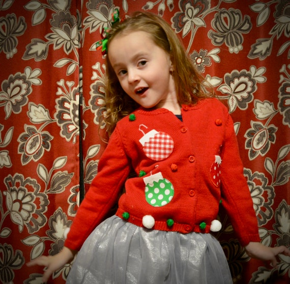 Ugly Christmas Sweater Kids.4t Kids Ugly Christmas Sweater 4 Year Old Girl Kid One Of A Kind Ornaments Puff Balls