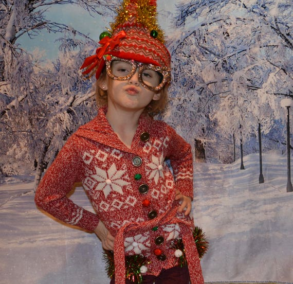 Kids Size 5 Ugly Christmas Sweater Button Up Ugly Sweater Etsy