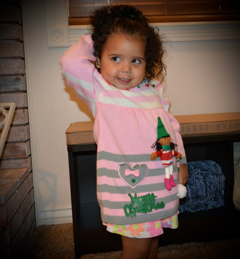 1e1b02a28 12-18 months, kids, Ugly Christmas Sweater dress, baby, toddlers, girls,  stocking, Pink, red, 1 year old, one of a kind