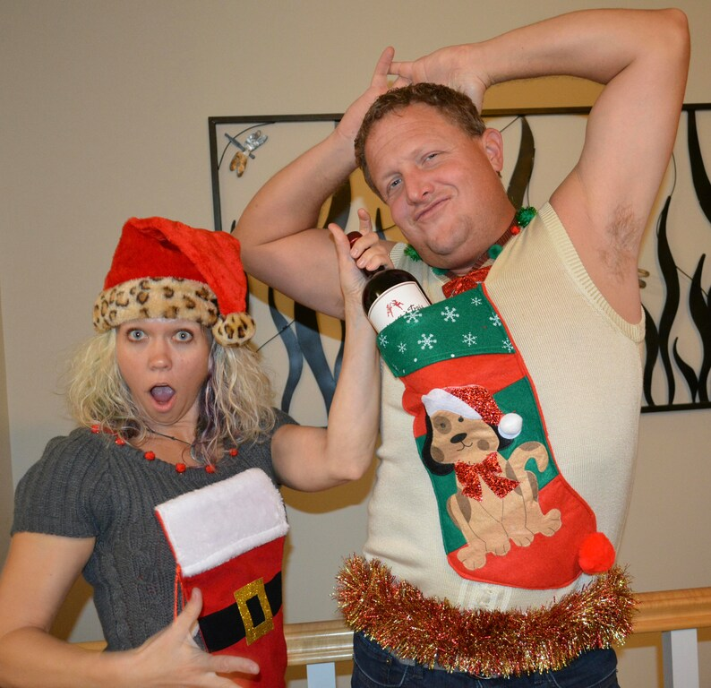 94f0ba35c98 Large Mens Wine holder stocking Ugly Christmas Sweater