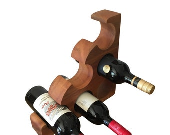 Wooden Wine Rack - Hand Carved 6 Bottle Holder Free Standing Wine Rack Made From Solid Hardwood