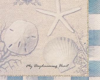Coastal Decoupage Paper Napkins Seashore Shells Napkins For Decoupage Collage Paper