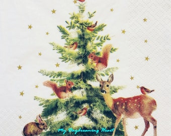 20 x Christmas Winter Forest Reindeer Trees Gold Stars Paper Serviettes Napkins