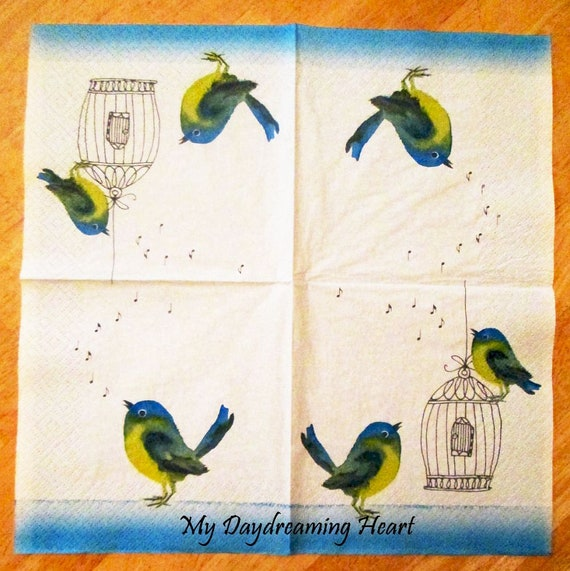 romantic Birds yellow blue birds door -515 4 Single paper decoupage napkins