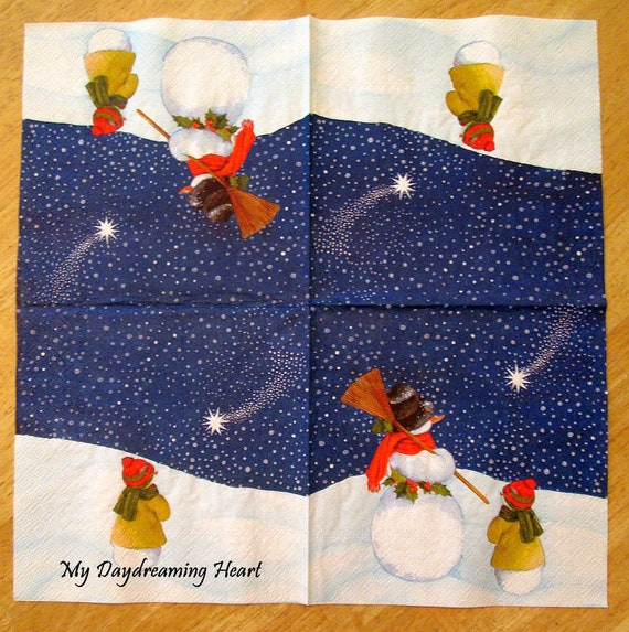 4 Single Lunch Paper Napkins for Decoupage Craft Napkin  Magic Funny Food Truck
