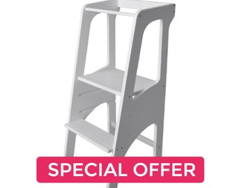 Bianconiglio Tower LT3 White -Montessori Learning Helper Tour d'observation d'apprentissage Torre step stool aprendizaje Turm lernen