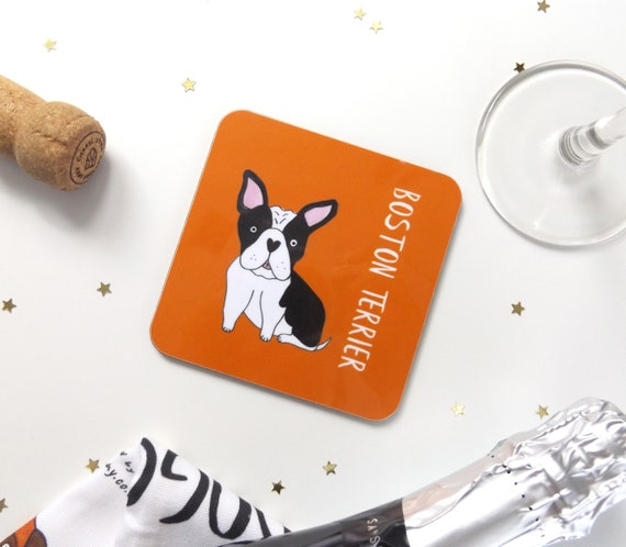Boston Terrier Drinks Coaster Boston Terrier Illustrated Dog Etsy