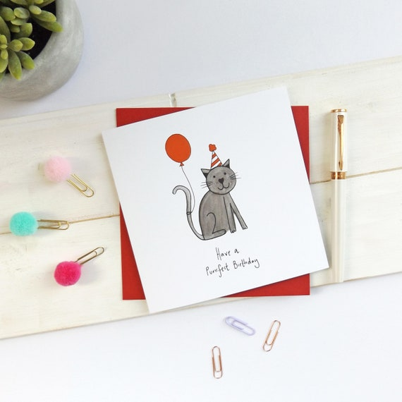 Black Cat Birthday Card Have A Purrfect
