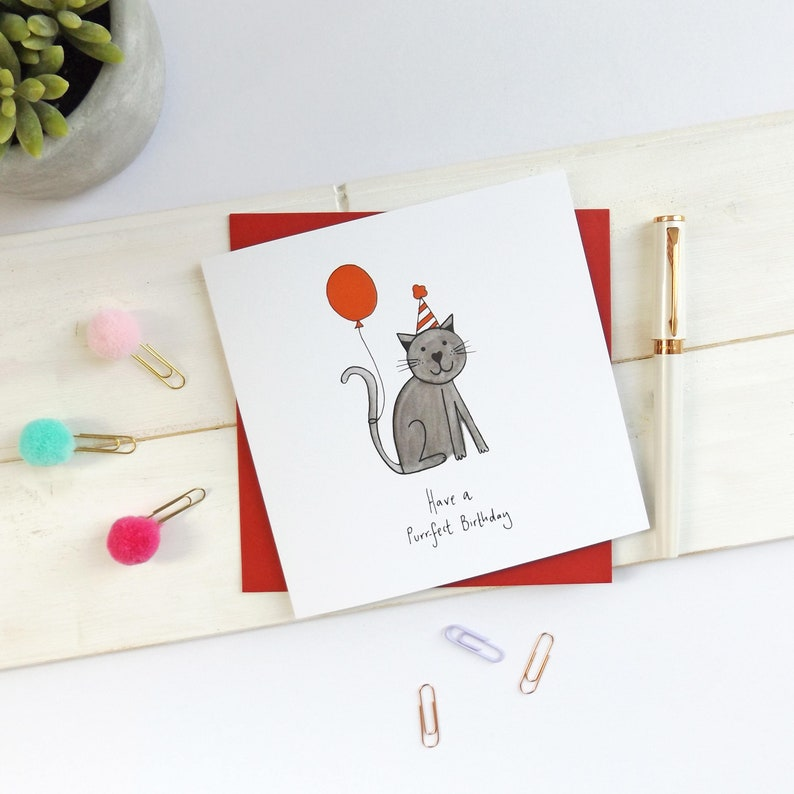Black Cat Birthday Card Have A Purrfect Cute Lover Funny