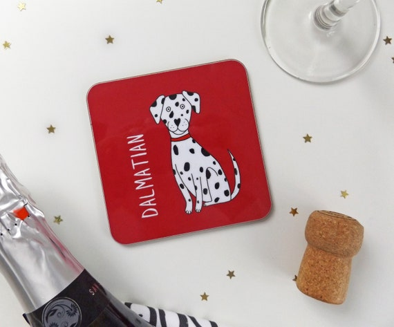 Dalmatian Drinks Coaster Dalmatian Dog Illustrated Dog Etsy